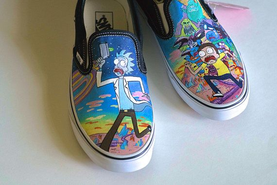 Custom Hand Painted Vans Shoes: Rick and Morty