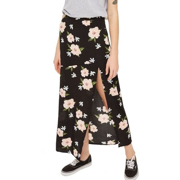 f4fdcae89b Women's Topshop Split Floral Maxi Skirt ($65) ❤ liked on Polyvore featuring  skirts, black multi, long skirts, topshop maxi skirt, floral print maxi  skirt, ...
