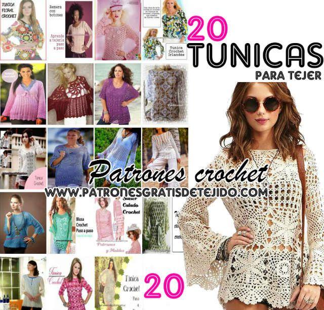 20 patrones gratis de tunicas para tejer al crochet | Crochet y Dos ...