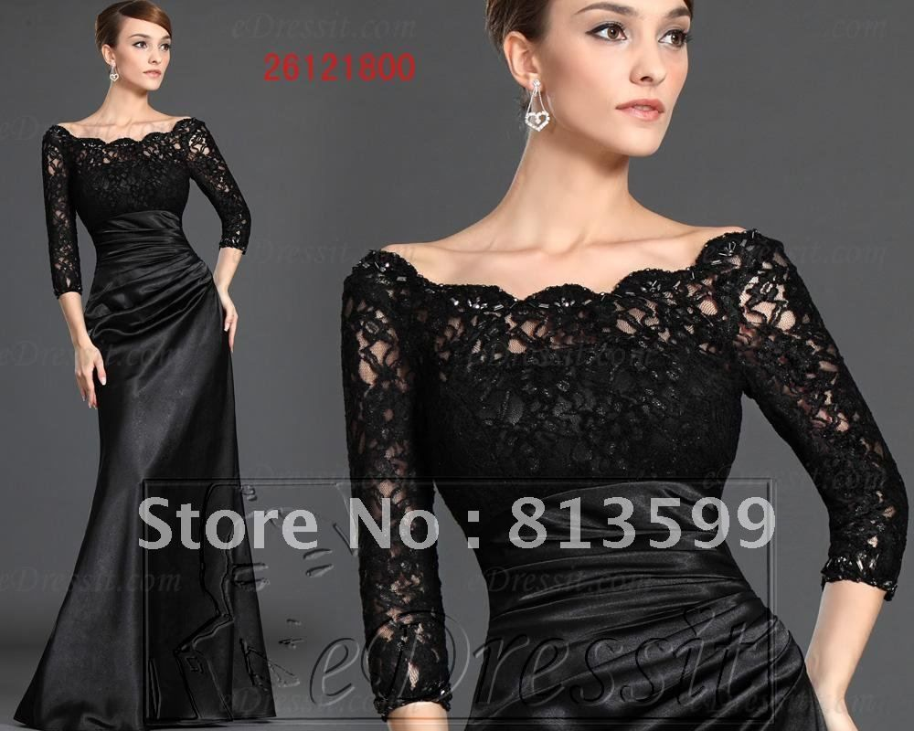 Custom size black long sleeve wedding dress bridal gownevening dress