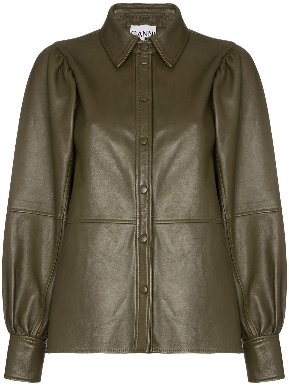 Ganni Leather Shirt Jacket Farfetch In 2020 Leather Jacket Style Leather Shirt Shirt Jacket [ 1334 x 1000 Pixel ]