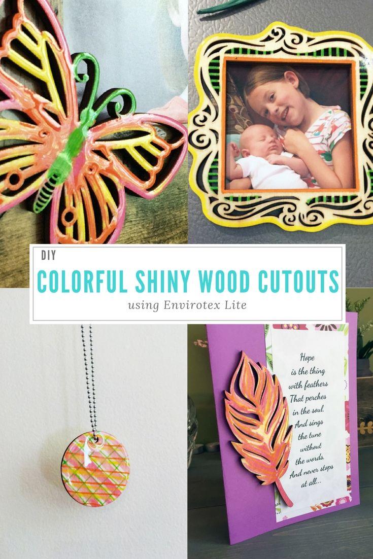 Diy colorful shiny wood cutouts wood cutouts resin