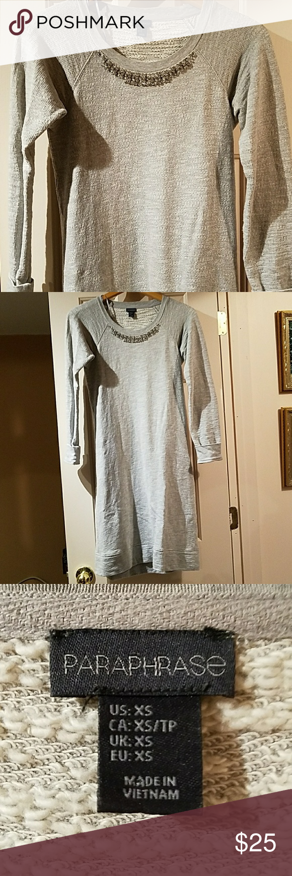 Paraphrase Extra Small Gray Jeweled Sweater Dres Long Sleeve Dre Clothe Design Dress Grey