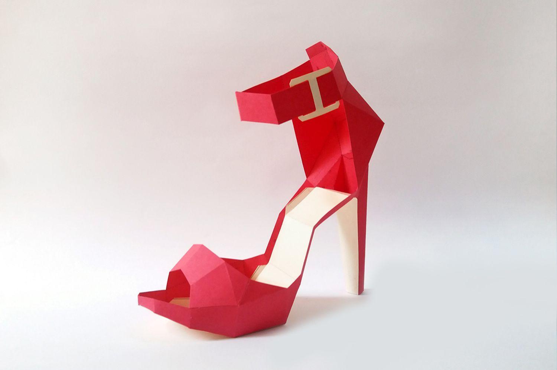 DIY Square toe shoe paper model formal shoe,3d papercrafts,Origami shoe,Printables,Digital download,DIY Papercraft,Lowpoly shoe,3d shoe