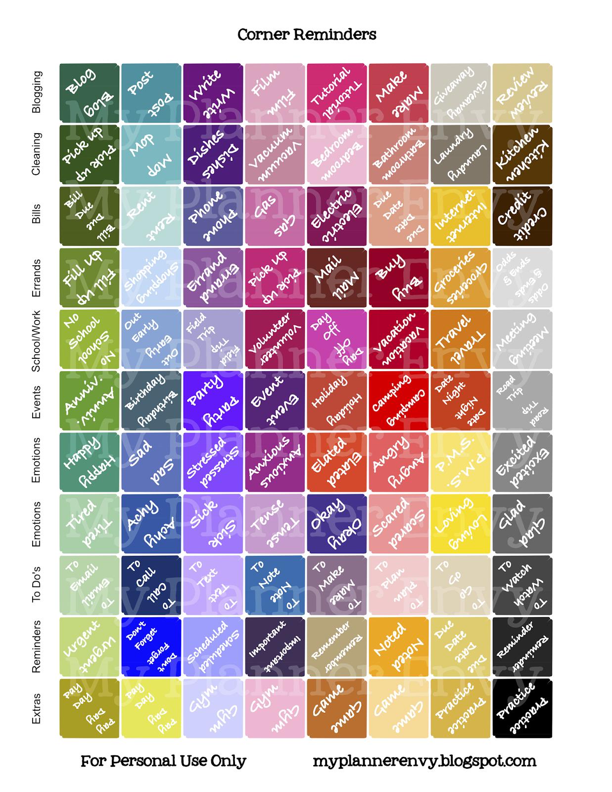 Calendar Planner Reminder Stickers : Corner reminder stickers free printable planner