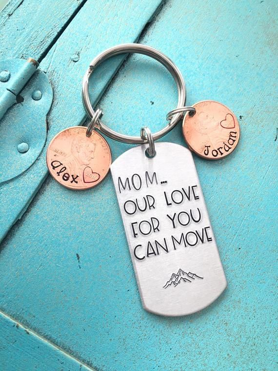 Personalized Mom Penny Keychain, Christmas Gift, Mountain Keychain, Birthday Day Gift For Mama, Moun #patiodepapas