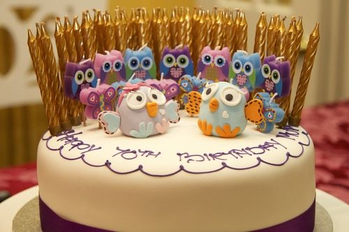 We Recently Celebrated My Mothers 70th Birthday Party With A Lovely Owl Cake And 70 Candles