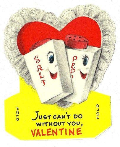 Salt Pepper Shaker Sweethearts Vintage Valentine Card