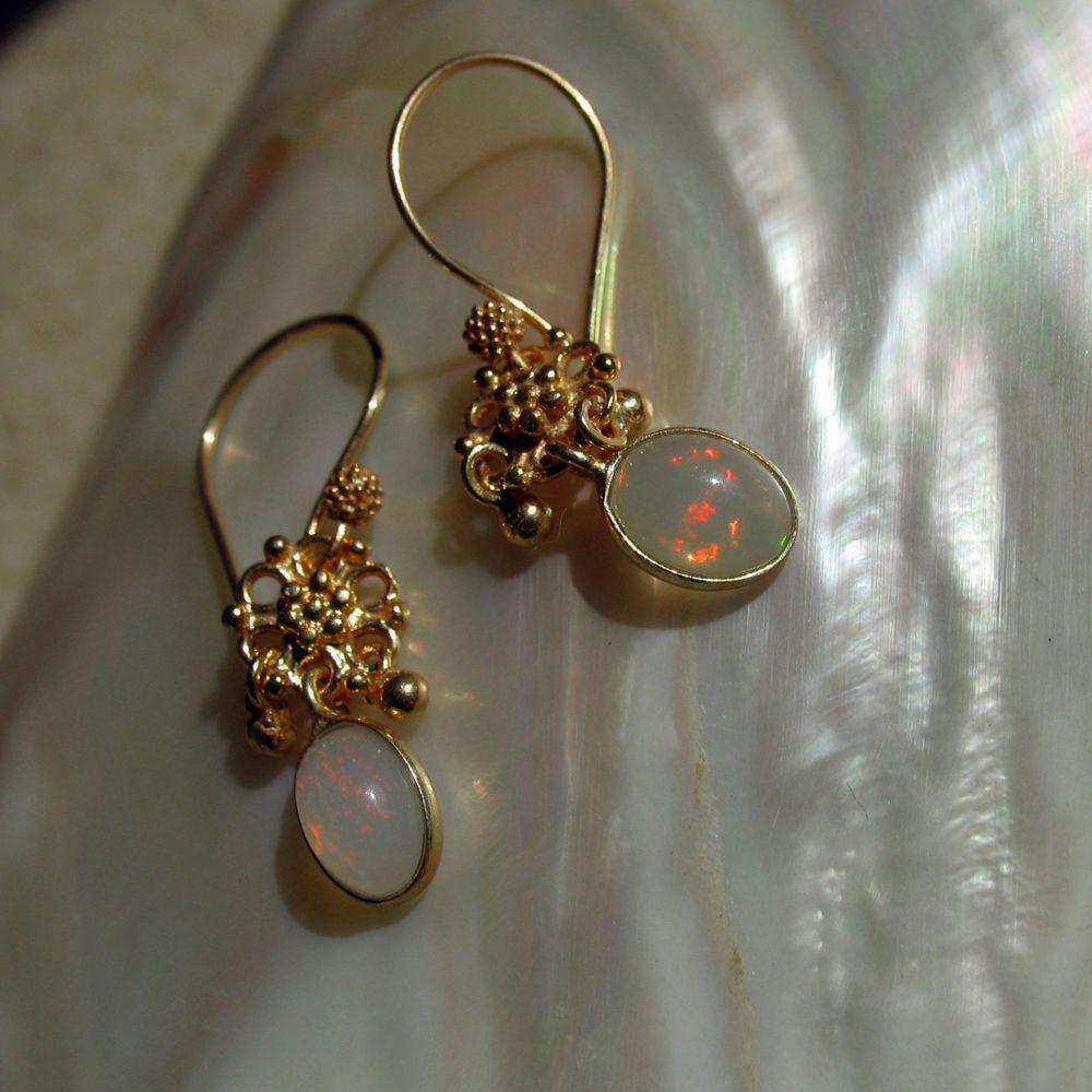 äthiopien opal ohrringe, bali design, 925 silber vergoldet | Opal ...