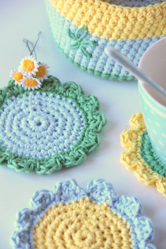Crocheted Coasters & Basket | Crochet Wayuu | Pinterest | Ganchillo ...