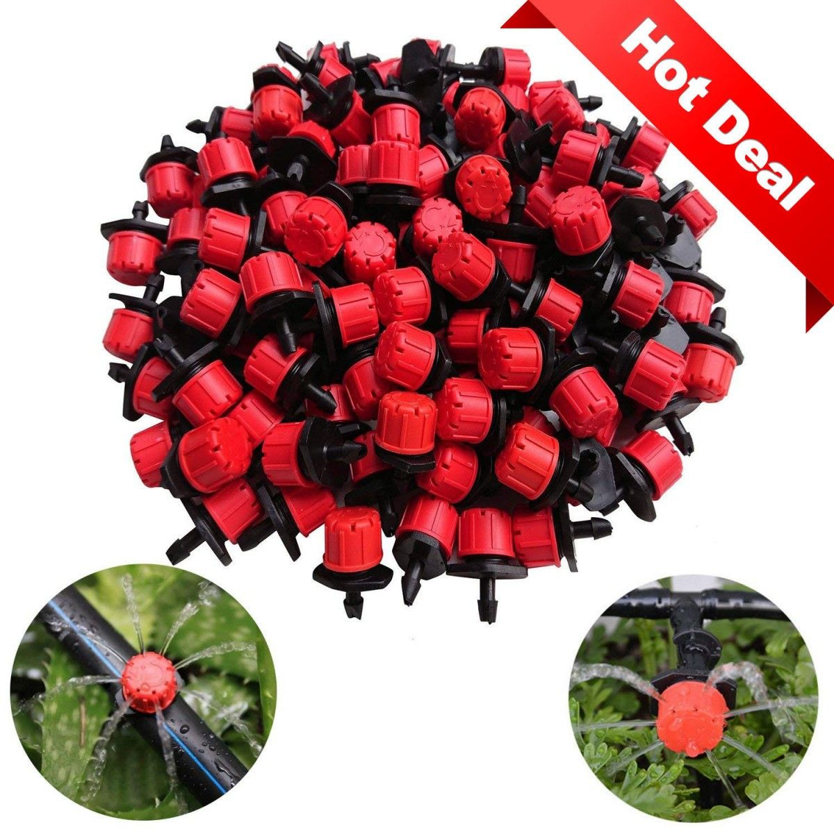 Kalolary 100Pcs 1//4Inch Adjustable Micro Drip Irrigation System Watering Sprinklers Anti-Clogging Emitter Dripper Red Garden Supplies