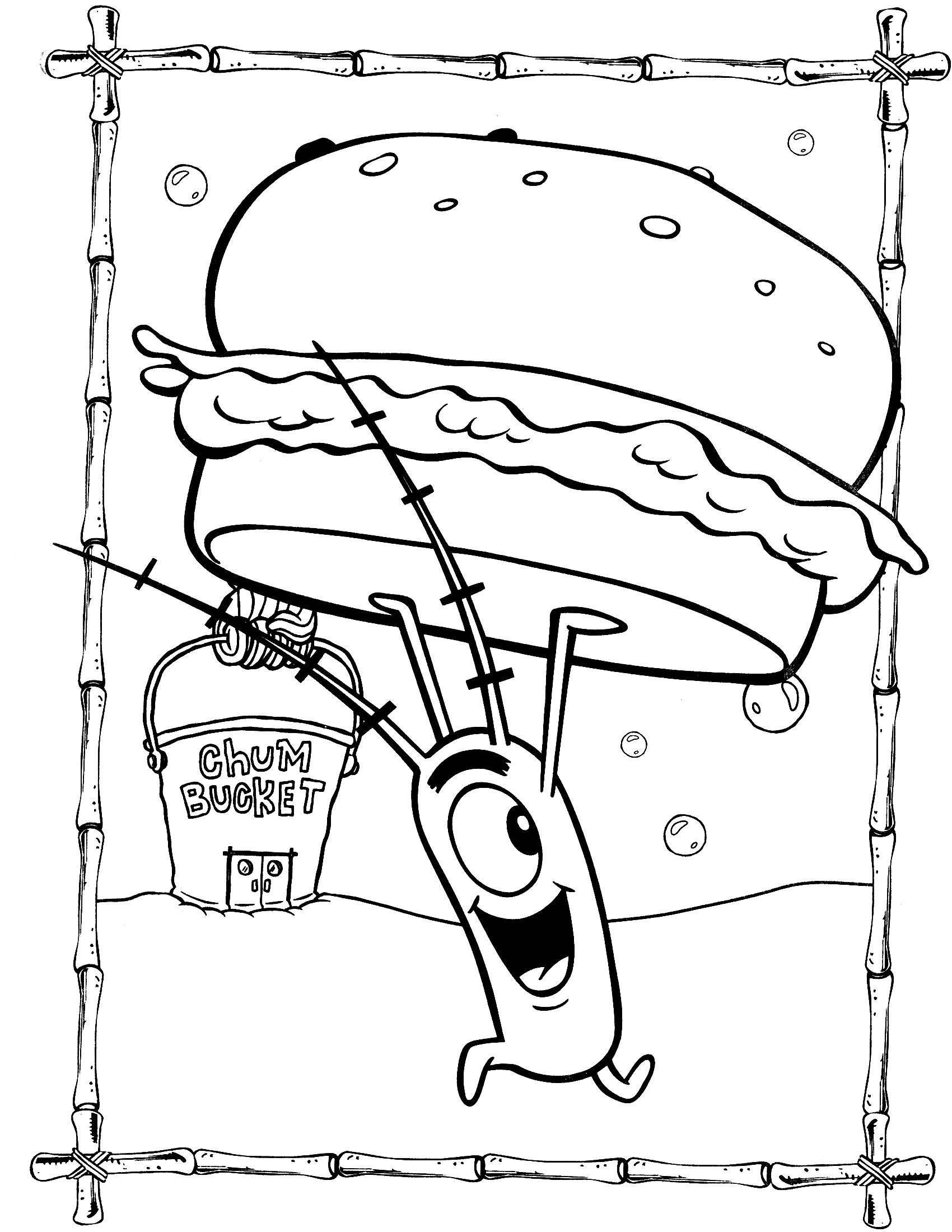 Spongebob Coloring Pages Plankton With Krabby Patty Spongebob