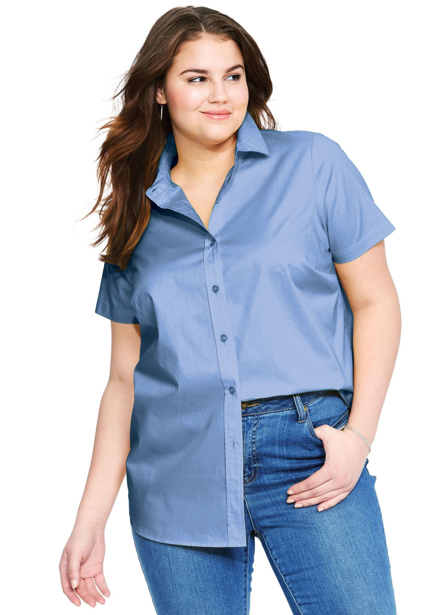 e5346028049 Short Sleeve Perfect Button Down Shirt - Women s Plus Size Clothing ...