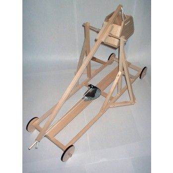 Trebuchet Kit  Recommended age 10-16 yrs.  Composed of five basic parts, the frame, counterweight, beam, sling and guide chute, a trebuchet is a type of catapult that works by using the energy of a raised counterweight to throw the projectile. The sling is placed in a trough below the axle, which supports the beam. When the trigger is released, the sling and beam swing until one end of the sling releases, opening the pouch and propelling the projectile toward the target.