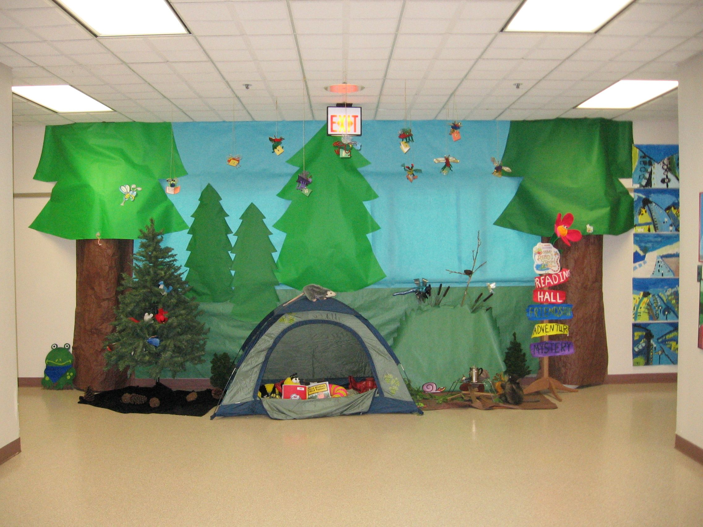 Camping Themed Classroom Decorations ~ This camping themed book fair features tents trees and s