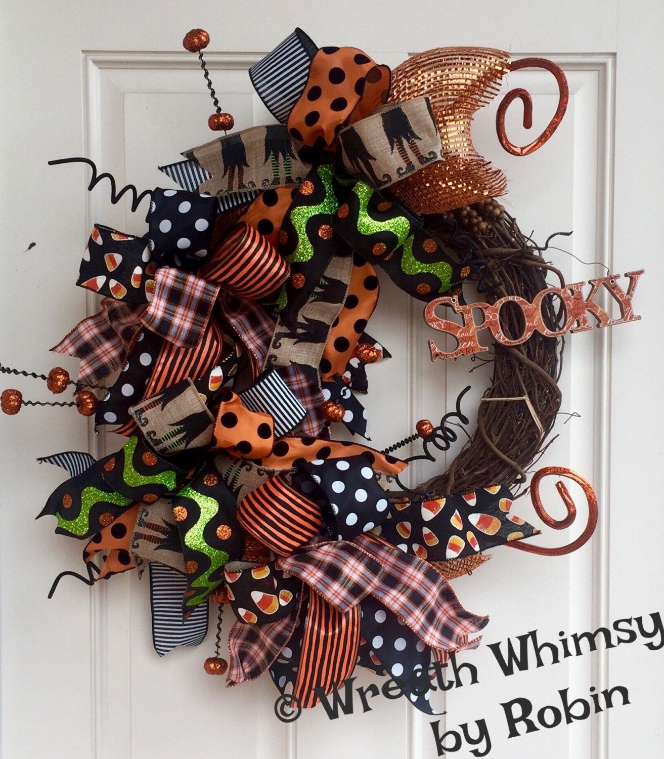 """Photo of Halloween Grapevine Deco Mesh Ribbon Wreath with """"Spooky"""" Sign, Fall Wreath, Fall Wreath, Front Door Wreath"""