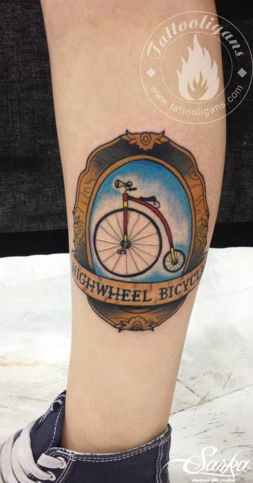 Vintage bike tattoo by Greek artist Dovas
