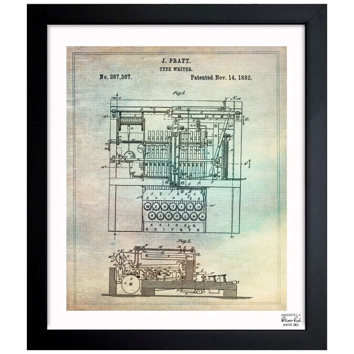 Oliver gal pratt type writer 1882 framed blueprint art decor adorn your man cave with this pratt type writer blueprint inspired by real vintage patent drawings illustrations handcrafted in the oliver gal artist co malvernweather Image collections