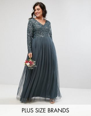 06aeafb2 Maya Plus Plunge Front Long Sleeve Maxi Dress In Tonal Delicate Sequin And  Tulle Skirt