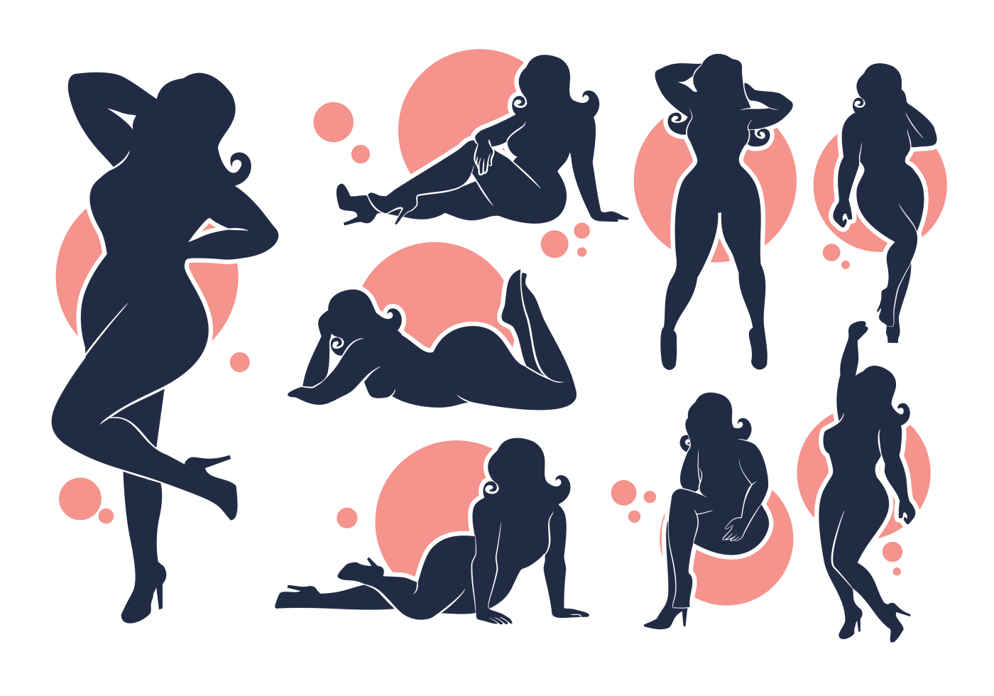 Photo of Vector silhouettes of Plus Size girls