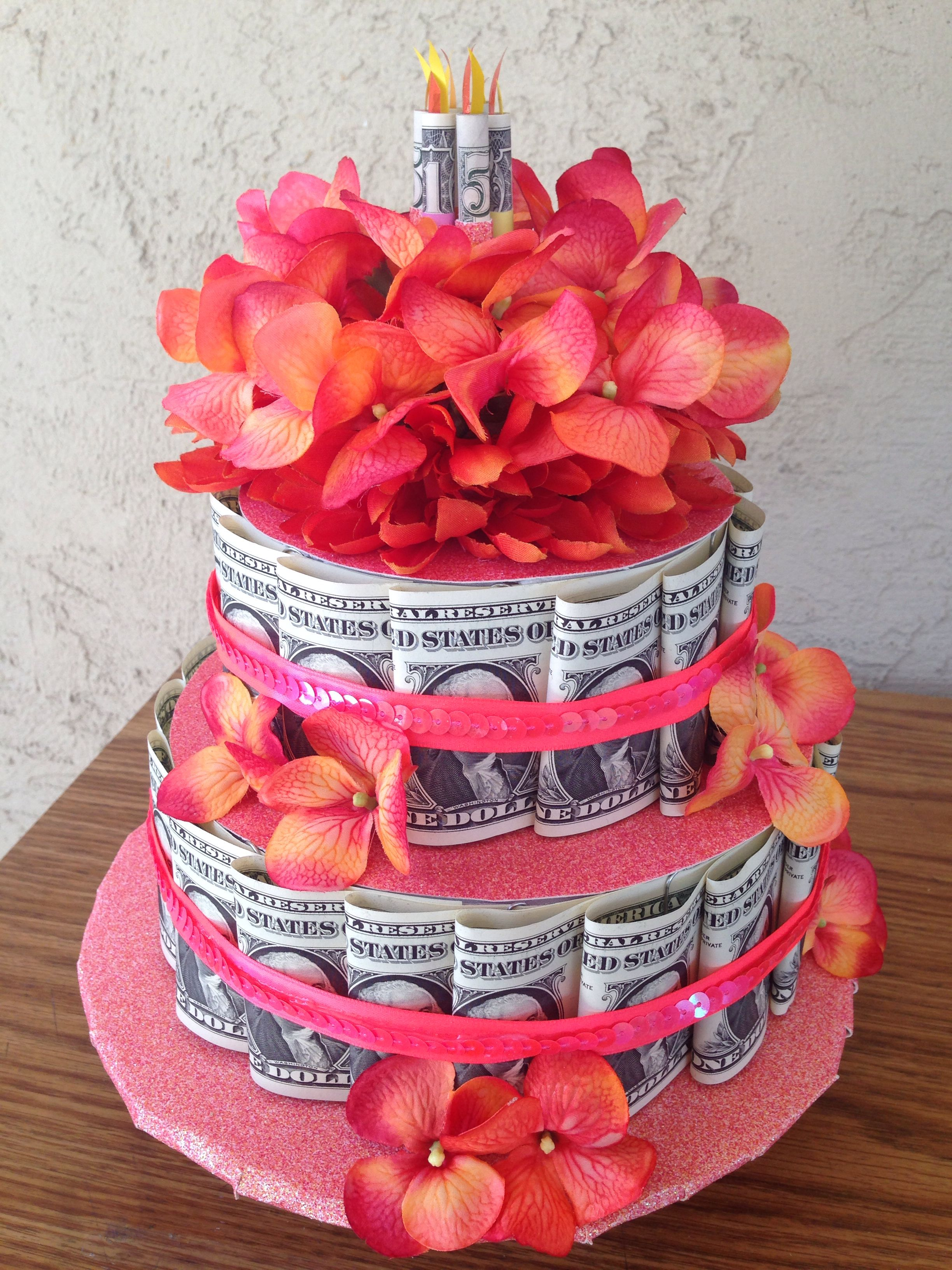 Coral Money Cake For A Quince