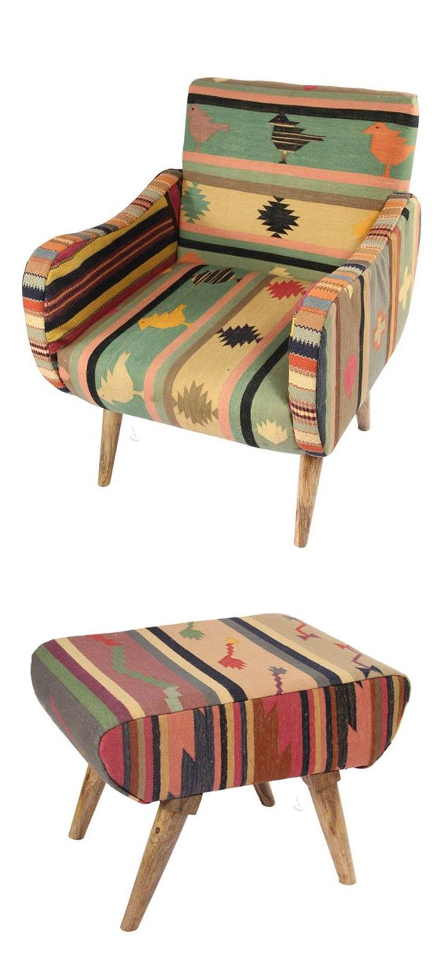Lovely Southwestern Chair #furniture_design #kilim #hippie