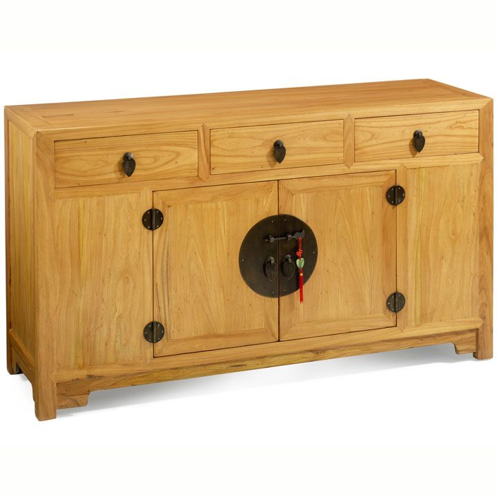 Chinese Ming Sideboard, Solid Wood Oriental Cabinet In Elm, Black Lacquer  Or Dark Wood Finish With Brass Hardware