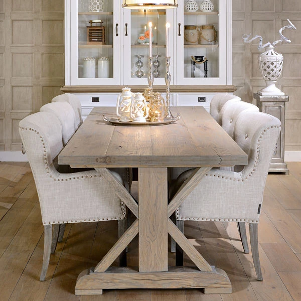 Hoxton Rustic Oak Trestle Dining Table Farmhouse Dining Room Table Rustic Dining Room Farmhouse Dining Room