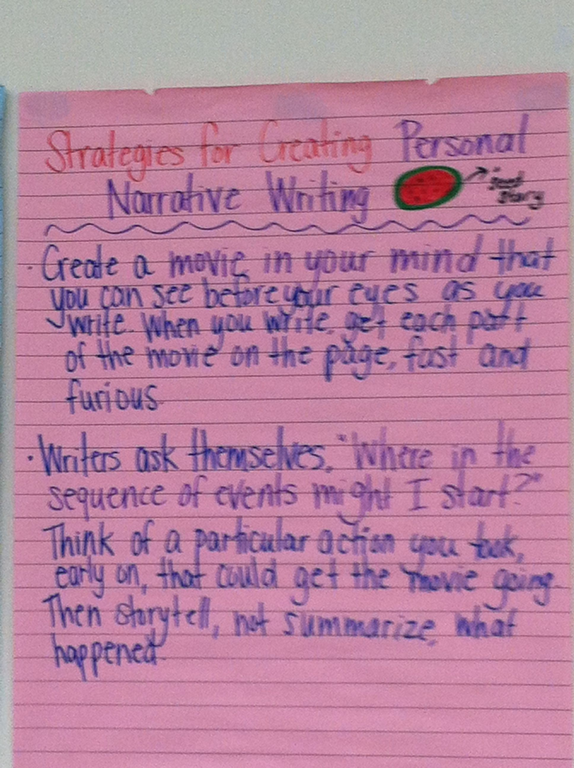 Strategies for creating a personal narrative From Columbia
