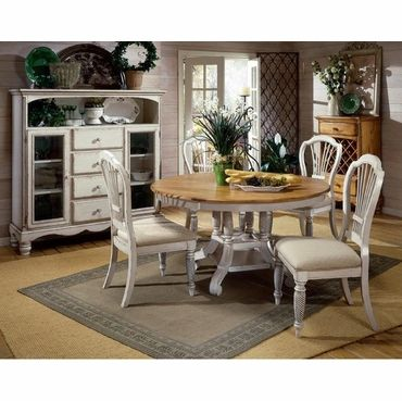 Hillsdale Wilshire 7 Piece Antique White Round Dining Table Set Mesmerizing 7 Piece Round Dining Room Set Decorating Inspiration
