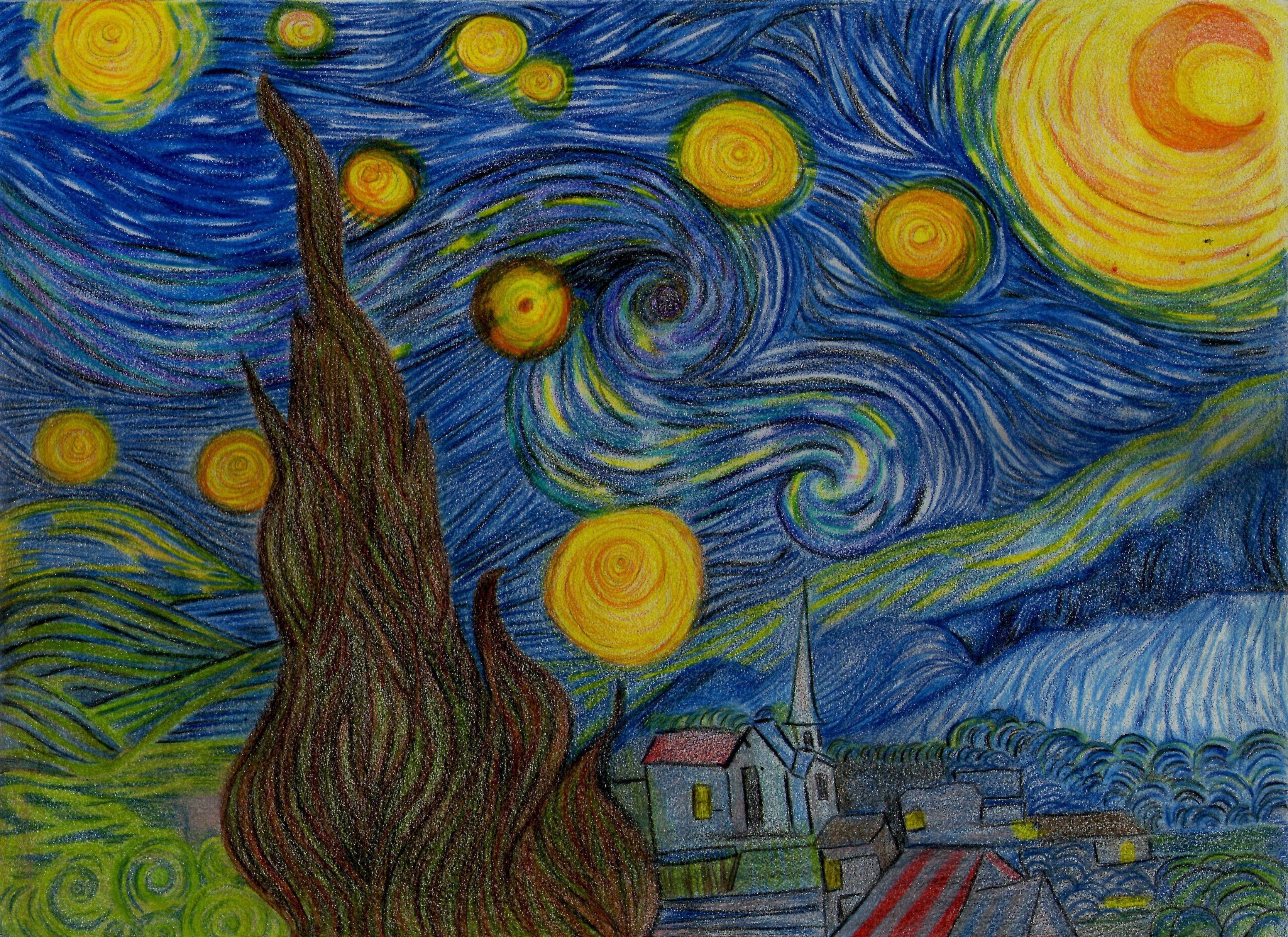 La Noche Estrellada Mi Versión De La Obra De Van Gogh Starry Night Art Artwork