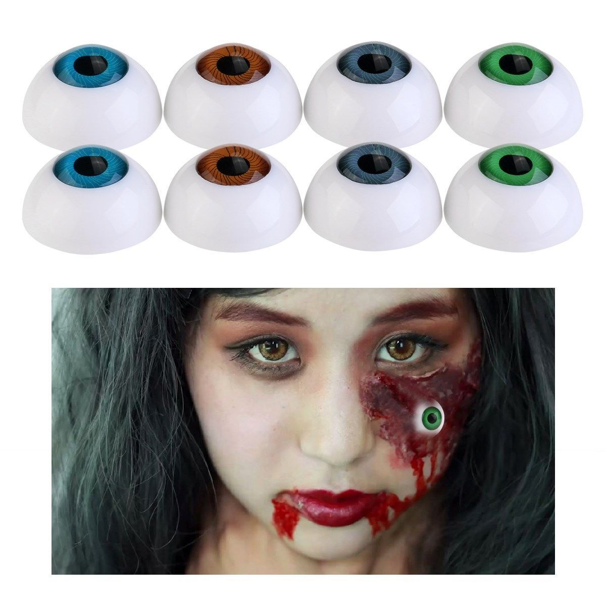 5 Pair Plastic Half Round For Halloween Mask Doll Eyes Fake Mask Eyeballs YnSP