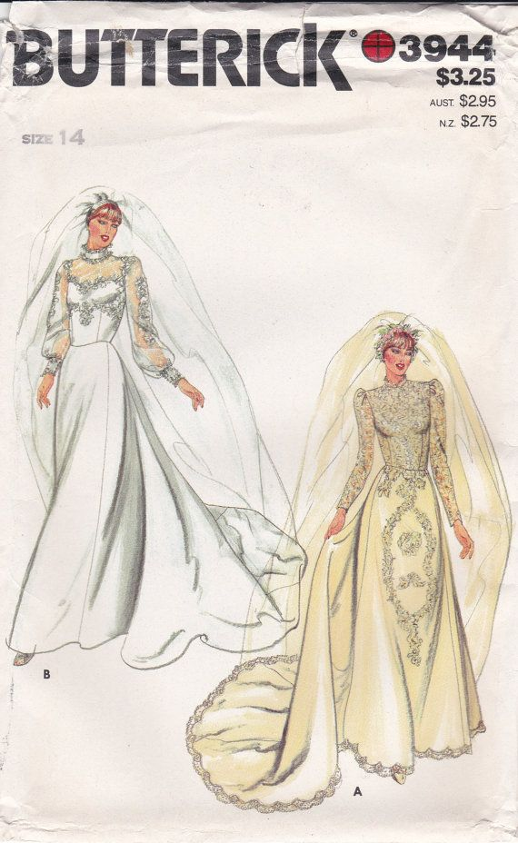 Butterick Sewing Pattern 3944 Lace Bridal Gown By Ziatacraft Vintage Wedding Dress Pattern Bridal Sewing Patterns Bridal Dress Patterns