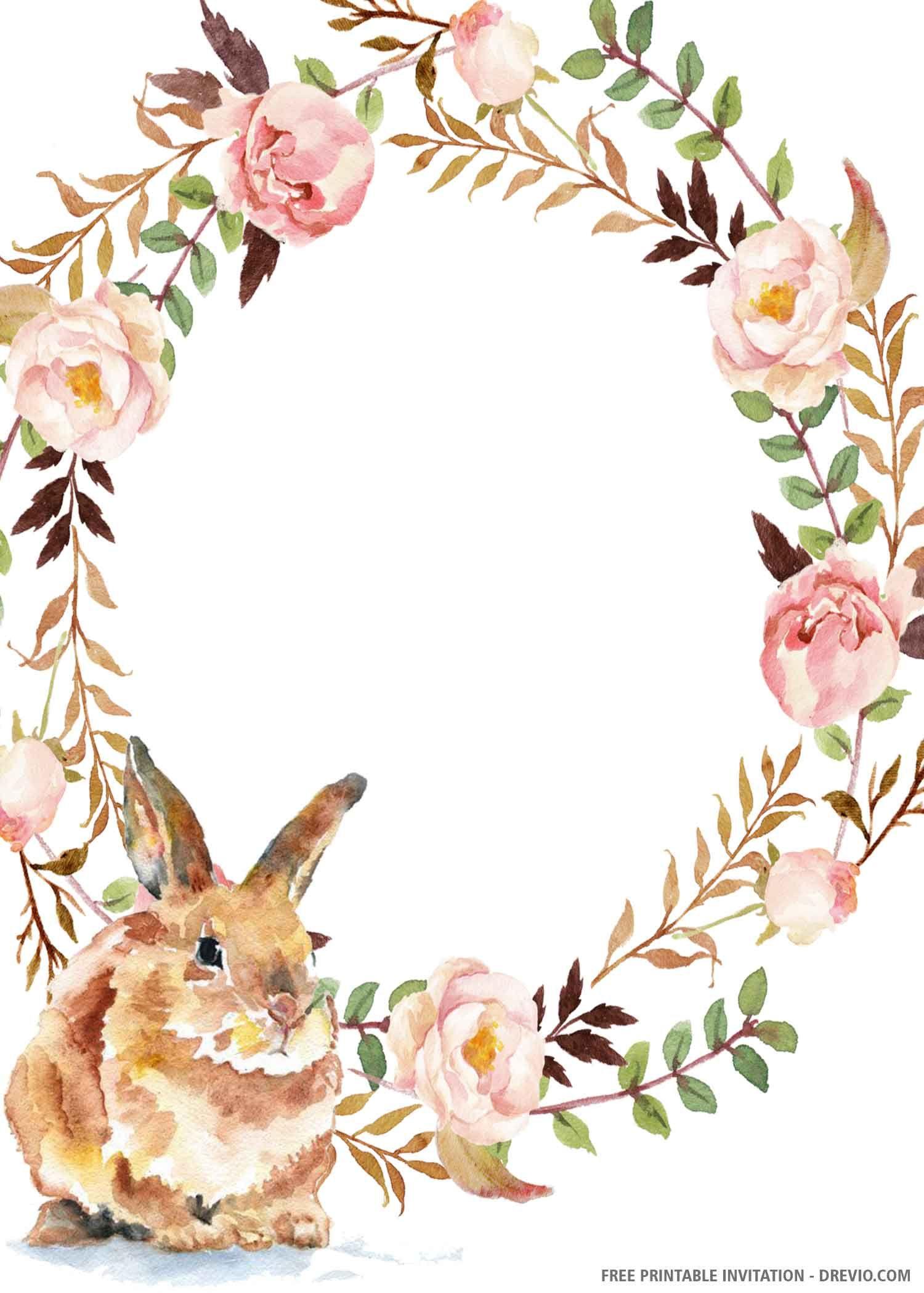 (FREE PRINTABLE) – Cute Bunny Birthday Invitation Template