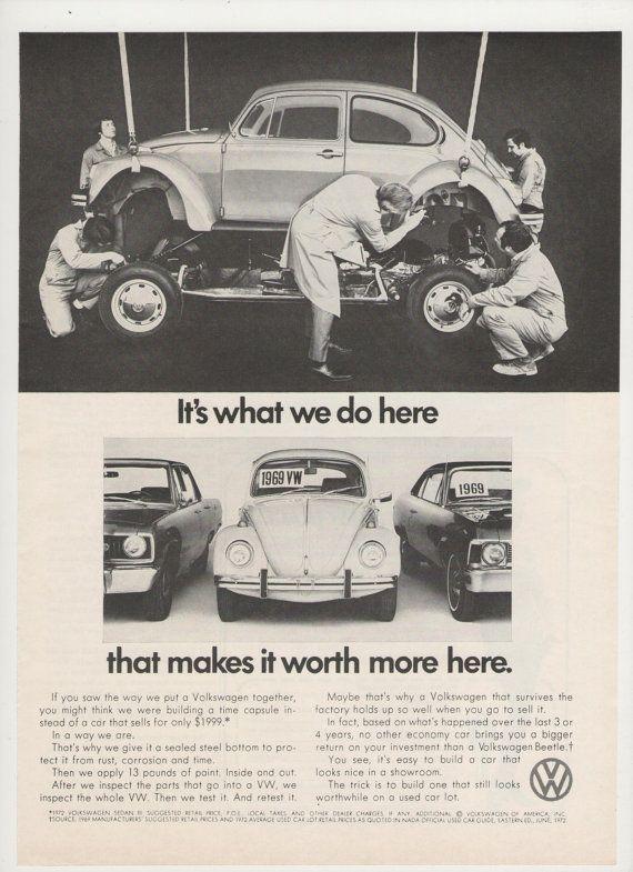 =-=1972 Volkswagen Beetle Bug Advertisement