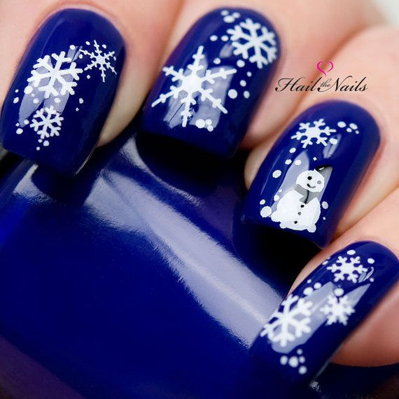 As symbols of the winter season, snowflake nail art are wonderful now and  can instantly make a regular manicure look like a work of art. - 20 Mixed Decals On A Clear Water Transfer Which Can Be Applied Over