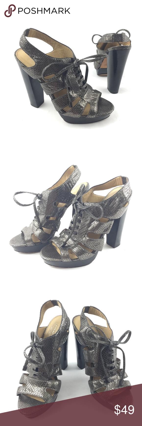 f4fd5215423 Coach Noreen Platform Heels Snakeskin Sandals Coach Noreen Size 6.5 ...