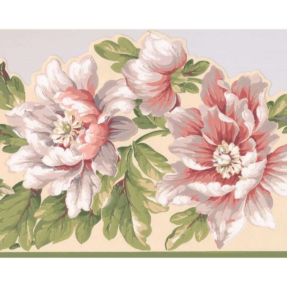 York Wallcoverings White Pink Bloomed Flowers on Vine