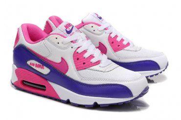 d47a5efd3ae7 Nike Air Max 90 Womens White Pink-Club Purple Shoes