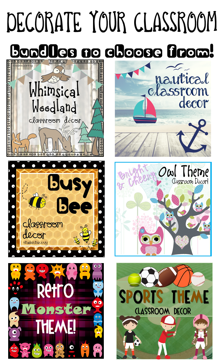 Elementary Classroom Decorations ~ Find a decor theme you love teaching freebies
