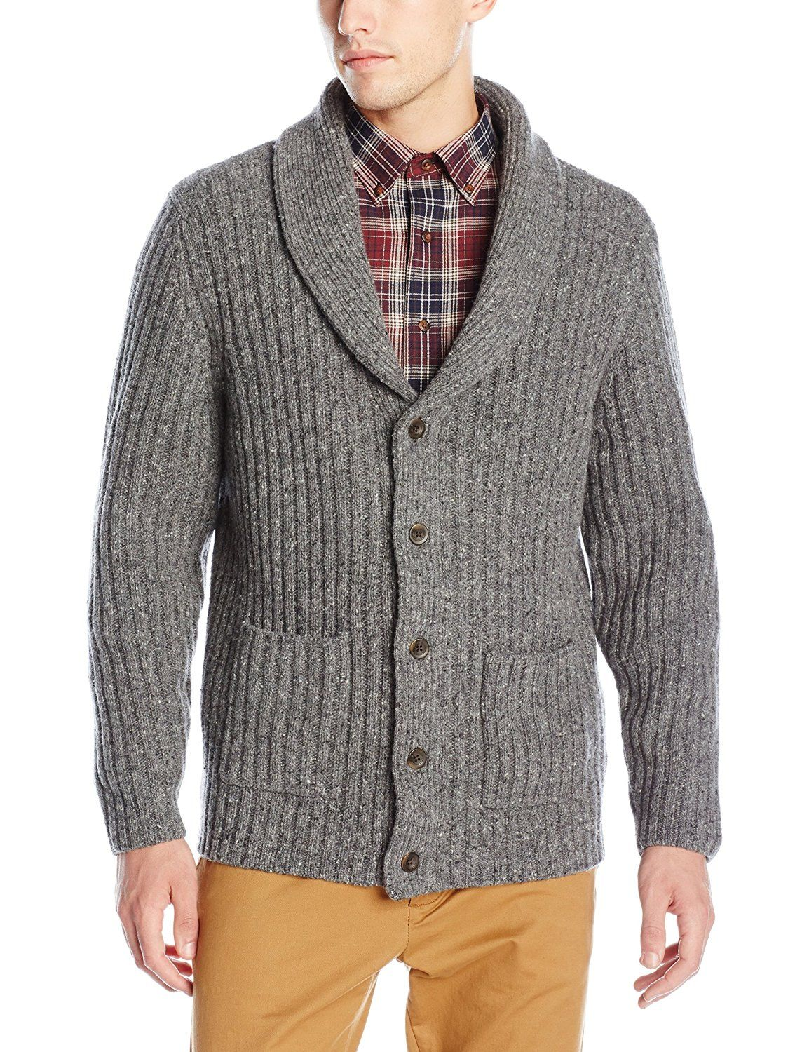 47bf55133 1920s Style Classic Shunky Knit Shawl Collar Men s Sweater- Pendleton Mens  Tk Donegal Shawl Cardigan Sweater AT vintagedancer.com
