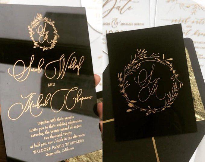 Clear Wedding Invitations: Clear Acrylic WEDDING INVITATIONS Laser Cut Geometric