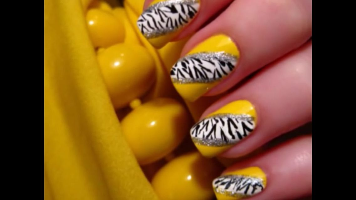 Yellow nails with zebra and glitter design | Nails | Pinterest ...