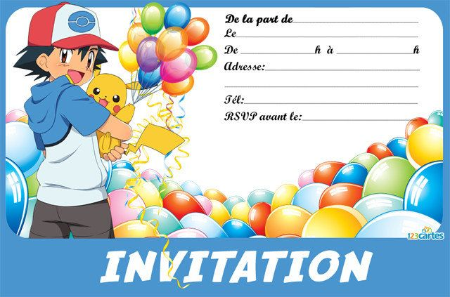 Invitation anniversaire sasha et pikachu pokemon en 2019 pokemon birthday pikachu et - Carte a imprimer pokemon ...