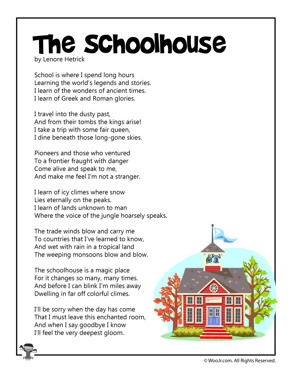 The Schoolhouse Poetry For Children Woo Jr Kids Activities English Poems For Kids Poems About School Kids Poems [ 1294 x 1000 Pixel ]