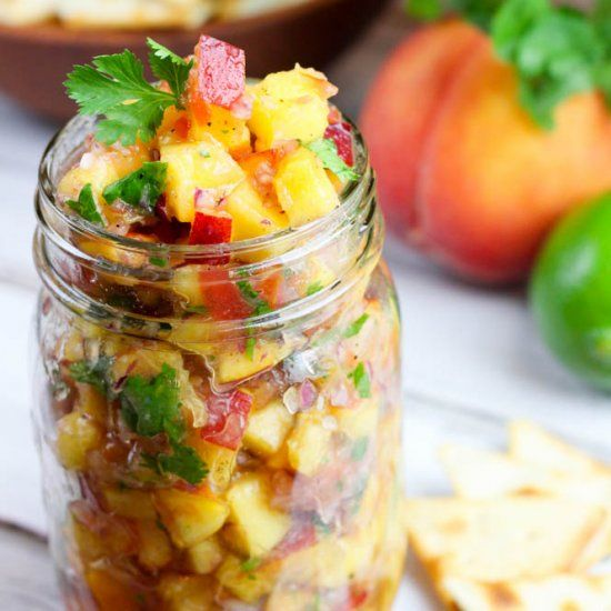 Sweet fresh peaches shine in this simple clean eating peach salsa recipe!  Includes a tip to cut your chopping time in half!