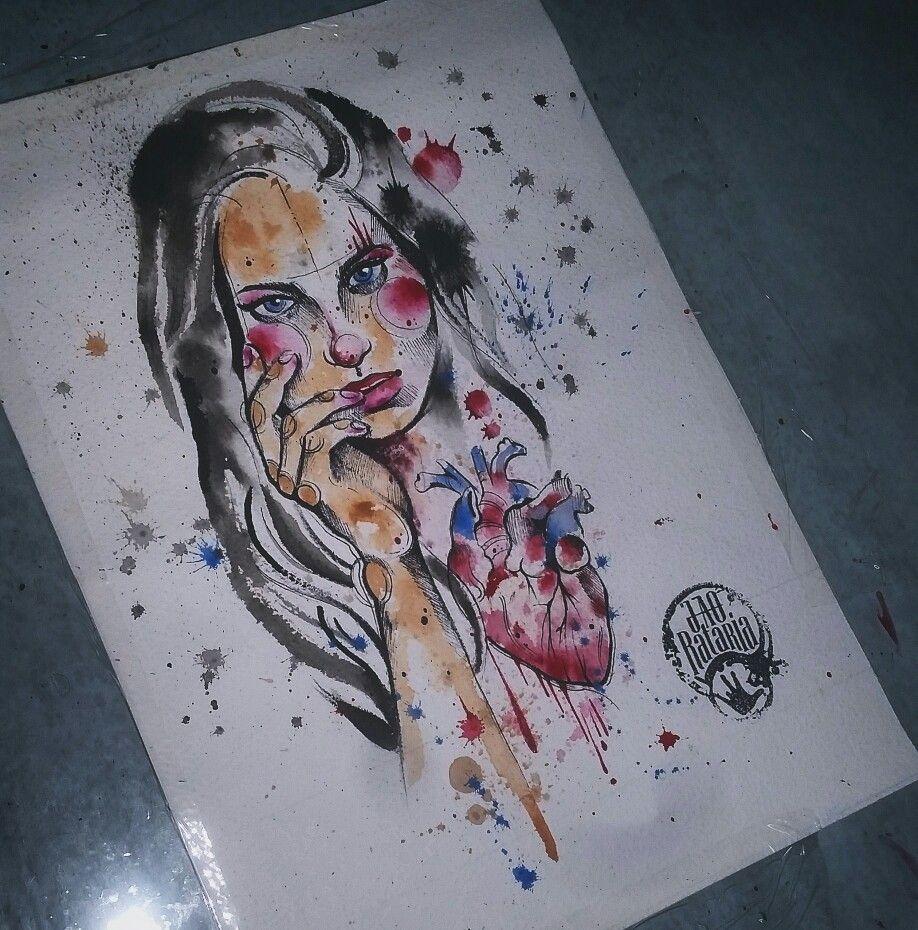 Tattoo tattoo's watercolour aquarela desenho desenhos tatuagem #woman heart mulher aquarelado pintura arte