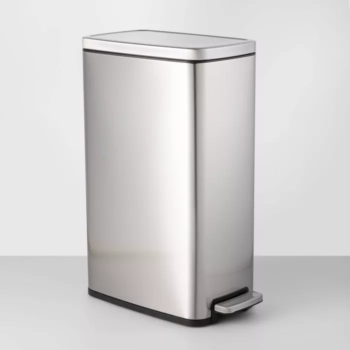 45l Slim Step Trash Can Made By Design Trash Can Trash Disposal Improve Indoor Air Quality Slim stainless steel trash can