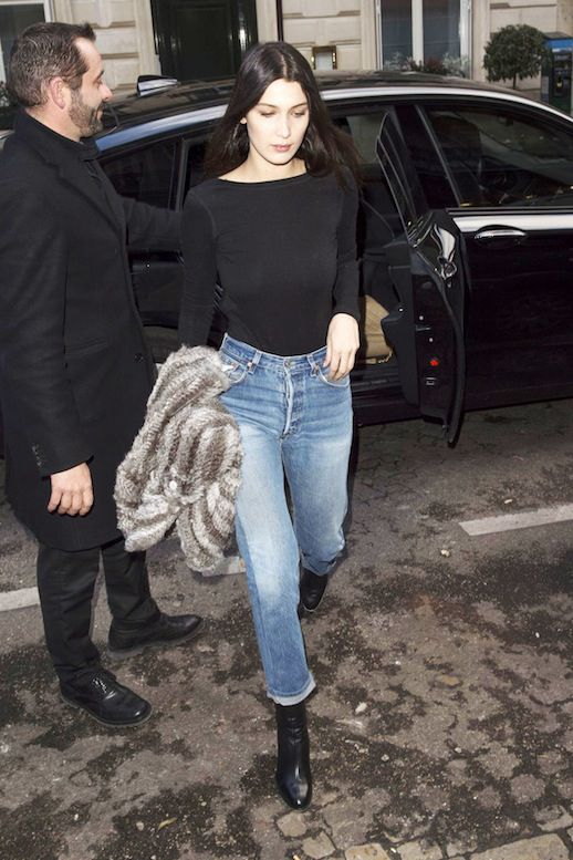Le Fashion Blog Fall Style Bella Hadid Black Long Sleeve Tee Shirt Tucked  Into… 1dfb3ee31