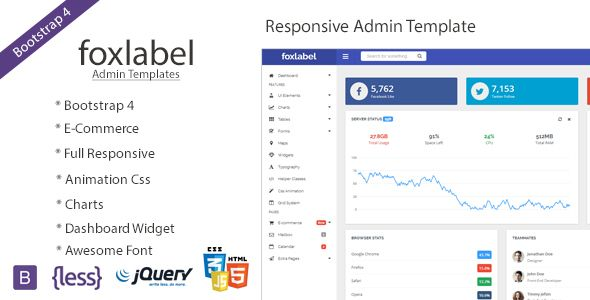 Foxlabel - Bootstrap 4 Admin Template Templates and Dashboards - monthly project status report template